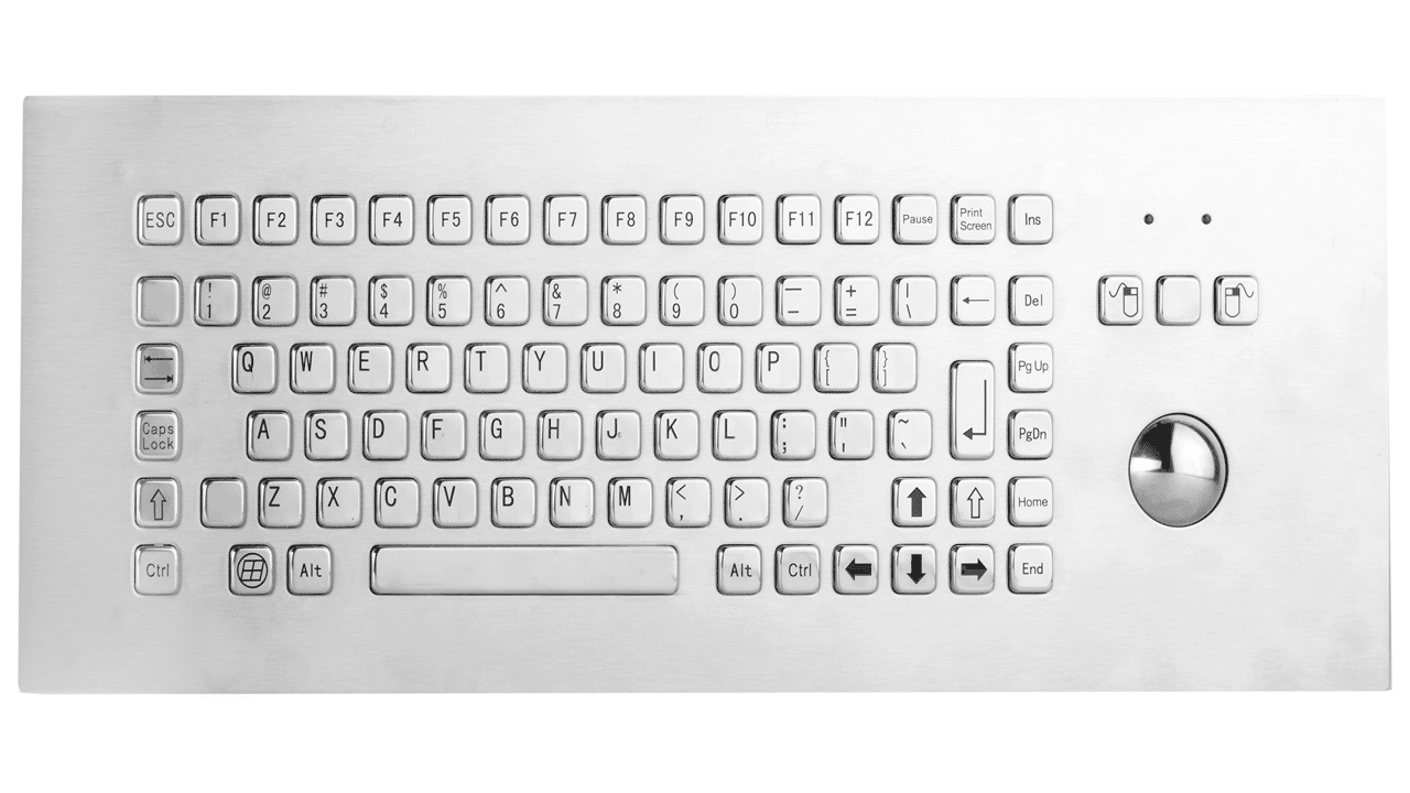 Rugged panel mount keyboard WITH TRACKBALL KMK-PC-F2-EM