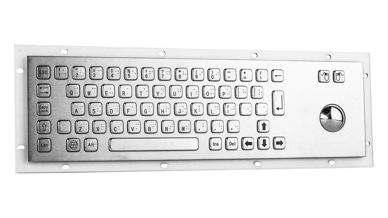 Rugged panel mount keyboard with trackball KMK-PC-D (Braille)