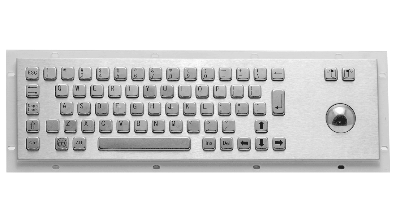 Rugged panel mount keyboard with trackball KMK-PC-D