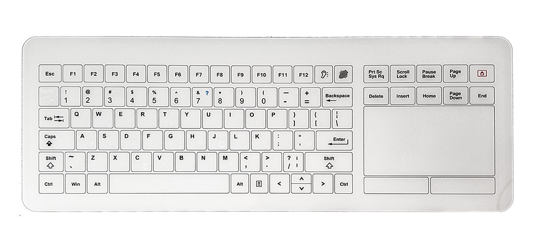 MEDICAL CAPACITIVE TOUCH KEYBOARD WITH GLASS SURFACE KT-PC-I-S